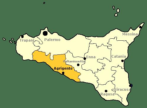 Karte von Sizilien mit Markierung der Provinz Agrigento.