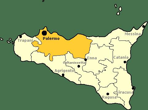 Karte von Sizilien mit Markierung der Provinz Palermo.