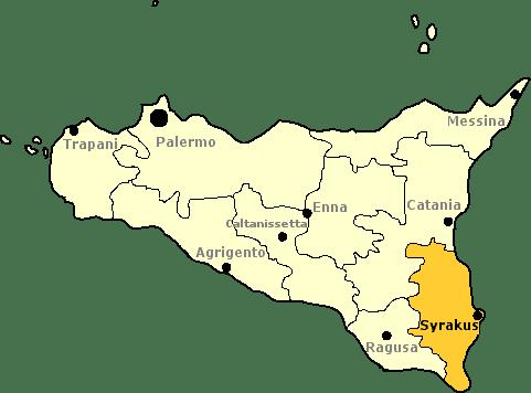 Karte von Sizilien mit Markierung der Provinz Syrakus.