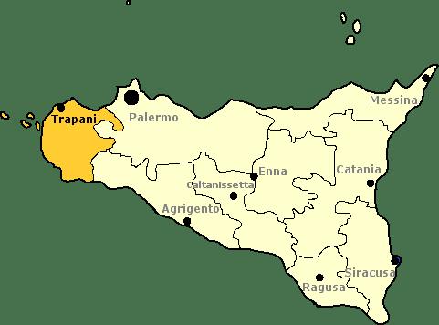 Karte von Sizilien mit Markierung der Provinz Trapani.