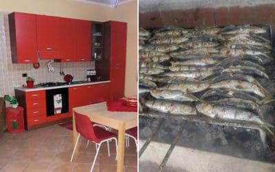 Ferienhaus Selinunte Wohnküche und Grill (1)