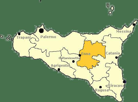 Karte von Sizilien mit Markierung der Provinz Enna.