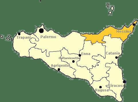 Karte von Sizilien mit Markierung der Provinz Messina.