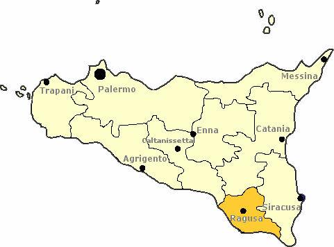 Karte von Sizilien mit Markierung der Provinz Ragusa.