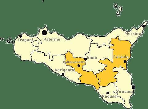 Karte von Sizilien mit Markierung der Provinz Caltanissetta.